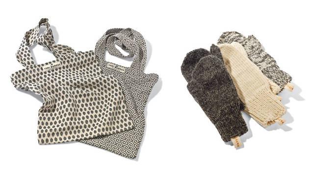 「SLOW HOUSE(スローハウス)二子玉川」 左、「TORI MURPHY マーケットバッグ」 世界中にファンをもつイギリスのテキスタイルブランド「トリ・マーフィー」の布を贅沢に使ったマーケットバッグ。特徴的なパターンは、ファッションのアクセントとしても注目。全6種。各7560円<br>右、「ウールグローブ」 ボリューム感のあるウールをふんだんに使い、ワルシャワのニット職人が丁寧に手で織ってつくったグローブ。ややオーバーサイズなども魅力。各5400円