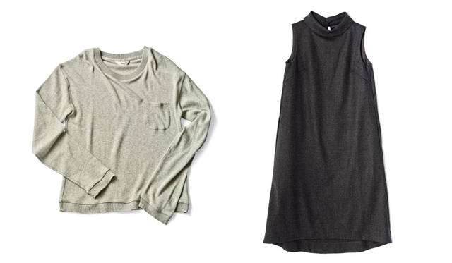「SLOW HOUSE(スローハウス)二子玉川」 左、「Ouur ロングTシャツ」 古い編み機でゆっくりと紡ぐことで空気を含ませて作られたエアーコットン素材のロングTシャツ。ふっくらとやわらかく、肌あたりよく仕上げられている。1万5120円<br>右、「Ouur ワンピース」 女性らしさを感じさせる襟にくわえ、前後の長さに差をつけた裾がゆるやかな曲線を描くフェミニンなデザインが特徴。3万3480円