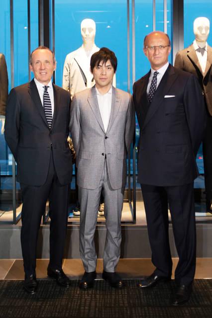 ジルド・ゼニア<写真左>、建築家 重松象平<写真中>、パオロ・ゼニア<写真右>