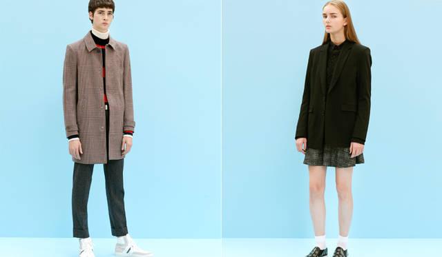 <写真左>シンプルなコットンウール素材のステンカラーコートは、英国テイストを代表するハウンドトゥースが今季らしい。ナローかつミニマルなデザインを活かし、インナーはニットのレイヤードですっきりと。「ここでも白いタートルネックが、着こなしに柔らかさを加えています。ジーンズが真骨頂のブランドですが、立体的にかっちり仕立てられたコートの仕上がりにも目を見張るものがあります」(丸山氏)。</br> コート14万7000円、ニット5万2920円、パンツ5万1840円、スニーカー7万2360円、タートルネックニット<スタイリスト私物>(すべてディーゼル ブラック ゴールド)</br><写真右>ビッグサイズのノースリーブジャケットは、取り外し可能なムートンのライニングが付属。フライトジャケットの袖をカットアウトしたデザインで、大きく開いたアームホールにはエポーレットが付く。インナーはバスト部をスタッズで装飾したミニドレス。「エッジの効いた80年代的なエッセンスをより着こなしやすくするためにも、メンズの黒いニットを組み合わせてジェンダーレスな方向性でスタイリングしました」(丸山氏)。</br> ノースリーブジャケット21万9000円、ドレ11万7000円、ニット4万3200円(すべてディーゼル ブラック ゴールド)