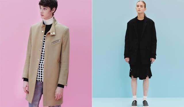 <写真左>大きなスナップボタンによる比翼合わせのキャメルコートは、左胸と袖口のライダース風ジッパーとスタンドカラーが面白い。リアルな経年変化を施したジーンズは、手の込んだダメージ加工を施している。「色落ちしたデニムに白スニーカーは引き続き今季のトレンド。シンプルで、今の東京っぽいスタイルです」(丸山氏)。</br> キャメルコート13万4000円、ニット3万8880円、ジーンズ6万480円、スニーカー7万1280円、タートルネックニット、 ソックス<スタイリスト私物>(すべてディーゼル ブラック ゴールド)</br> <写真右>ジャケット12万6360円、ワンピース5万8320円、スカート4万5360円、ニット3万7800円、スニーカー5万9400円、ソックス<スタイリスト私物>(すべてディーゼル ブラック ゴールド)