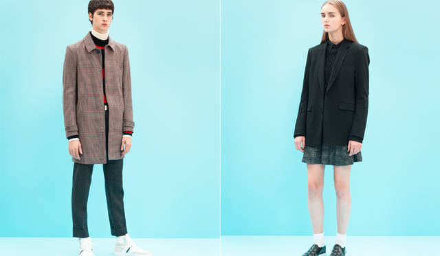 <写真左>シンプルなコットンウール素材のステンカラーコートは、英国テイストを代表するハウンドトゥースが今季らしい。ナローかつミニマルなデザインを活かし、インナーはニットのレイヤードですっきりと。「ここでも白いタートルネックが、着こなしに柔らかさを加えています。ジーンズが真骨頂のブランドですが、立体的にかっちり仕立てられたコートの仕上がりにも目を見張るものがあります」(丸山氏)。</br>コート15万8760円、ニット5万2920円、パンツ5万1840円、スニーカー7万2360円、タートルネックニット<スタイリスト私物>(すべてディーゼル ブラック ゴールド)</br><写真右>ブラックのマスキュリンなテーラードジャケットに、メランジ調のニットをレイヤード。コーディネートのベースとなるドレスはツイーディーなチェックパターンとシャツ生地を組み合わせた異素材ミックスで、裾からわずかにクラシカルな柄をのぞかせることで今季らしい雰囲気に。</br>ジャケット10万440円、ドレス10万2600円、ニット6万3720円、スニーカー5万9400円、ソックス<スタイリスト私物>(すべてディーゼル ブラック ゴールド)
