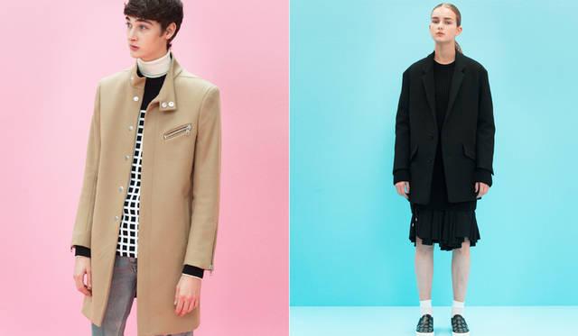 <写真左>大きなスナップボタンによる比翼合わせのキャメルコートは、左胸と袖口のライダース風ジッパーとスタンドカラーが面白い。リアルな経年変化を施したジーンズは、手の込んだダメージ加工を施している。「色落ちしたデニムに白スニーカーは引き続き今季のトレンド。シンプルで、今の東京っぽいスタイルです」(丸山氏)。</br>キャメルコート14万4720円、ニット3万8880円、ジーンズ6万480円、スニーカー7万1280円、タートルネックニット、ソックス<スタイリスト私物>(すべてディーゼル ブラック ゴールド)</br><写真右>ざっくりとしたヴァージンウールのジャケットはビッグシルエットのデザインに。インナーはミリタリーのムードを感じるベルトのディテールが随所にデザインされた、プリーツドレス。</br>ジャケット12万6360円、ドレス15万9840円、ニット参考商品、スニーカー5万9400円、ソックス<スタイリスト私物>(すべてディーゼル ブラック ゴールド)