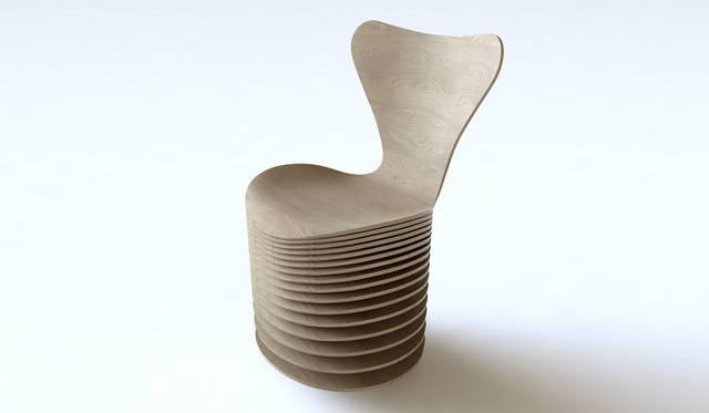 「ビャルケ・インゲルス グループ(BIG)」 デザインのインスピレーションは、椅子の構成要素。積層合板という内部構造とスタッキングという機能性。これらをふまえて、セブンチェアの象徴的なフォルムを幾重にも巧みに重ねた椅子が誕生した