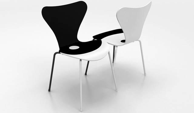 「ジャン・ヌーヴェル(Jean Nouvel)」 対照的な色使いと横並びの配置。これはジャン・ヌーヴェルのデザインの好例で、それぞれの椅子は白と黒で区切られていながらも、フェミニンとマスキュリンという流れで調和。この調和は座面とシェルの背面の曲線を強調している