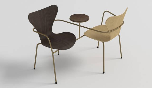 """「ネリ&フー(Neri & Hu)」 作品のデザインコンセプトの背景には1930年代の上海がある。ウォーターハウスのリノベーションで見られるように、レプリカやコピー、バリエーションやリメイクといったアイデアは、オリジナルと再設計の二重性に左右される。このプロジェクトでのウォーターハウスの試みは、二重性というかんがえを完全に受け入れ、実際に""""ダブル(二重のもの)""""を作成すること。オリジナルのチェア2脚が互いに向き合うことであたらしいバージョンの椅子となっている。個人が複数で社会になるように、椅子が複数になることで生じる、価値が示されている"""