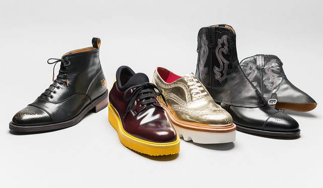<strong>ISETAN MEN'S|イセタンメンズ</strong><br />伊勢丹新宿店メンズ館地下1階=紳士靴売場「JAPAN靴博2015」 左から、「JOLI」モデル「JOLI-080 extra quality」(サイズ25、26、27cm)、「bibliotek」モデル「CT001」(サイズ39~43)、「HIROSHI TSUBOUCHI」モデル「HTO-3215」(サイズ6~8.5)、「康製甲所」モデル「ウエスタンスパッツ」(価格はすべて未定)