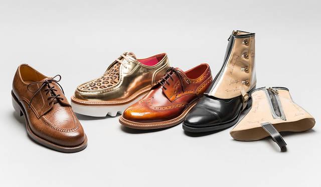 <strong>ISETAN MEN'S|イセタンメンズ</strong><br />伊勢丹新宿店メンズ館地下1階=紳士靴売場「JAPAN靴博2015」 左から、「UNION IMPERIAL」モデル「KAMAGAYA special」(サイズ7.5)、「HIROSHI TSUBOUCHI」モデル「HTO-3815」(サイズ6~8.5)、「madras」モデル「M239」(サイズ24~27cm)、「RENDO」モデル「Suke Lun des?」(ワンサイズ)(価格はすべて未定)