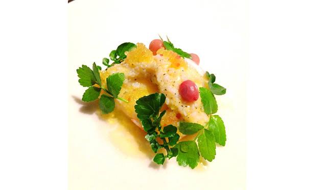 ザリガニのようなマロンの濃厚な甘味と、リリピリの酸味のマッチングを楽しむ一皿