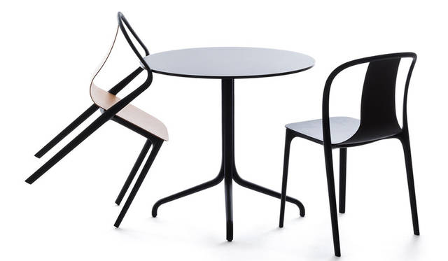 Vitraの新作家具「ベルヴィルチェア」と「ベルヴィルテーブル」。洗練された技術によって生まれたプラスチックチェアで、フレームとシートシェルのふたつのコンポーネントから成る「ベルヴィルチェア」。「ベルヴィルテーブル」は、天板をラミネート、ウッドから選ぶことができ、エレガントなアーチ型のスレンダーな脚は、アルミダイキャスト製で、デザインはクラシックなビストロのテーブルをモチーフにしているという