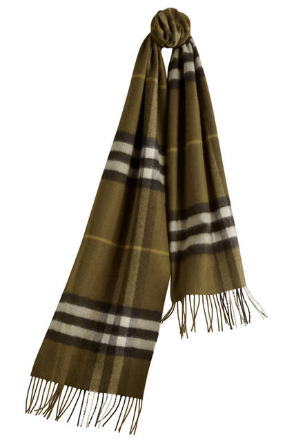 Check Cashmere Scarf - Olive Green