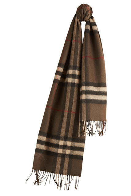 Check Cashmere Scarf - Olive Brown