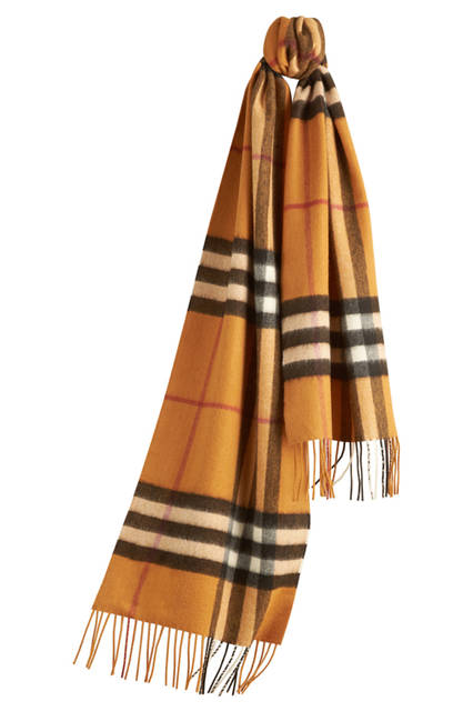 Check Cashmere Scarf - Amber