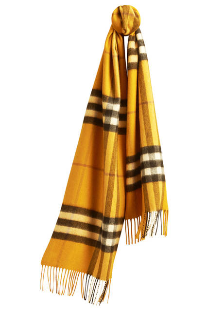 Check Cashmere Scarf - Amber Yellow