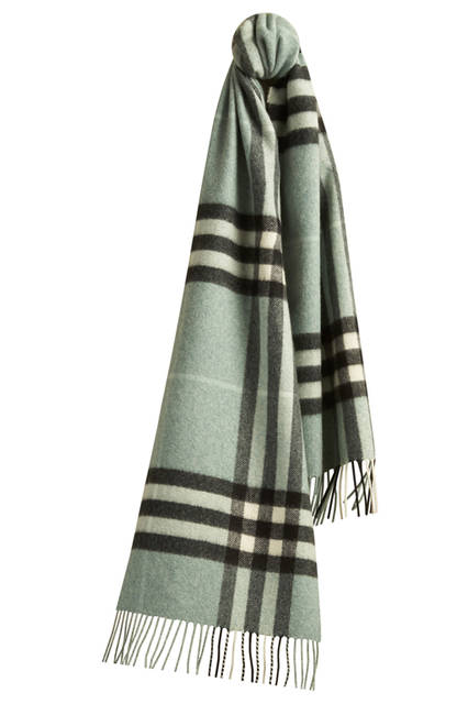 Check Cashmere Scarf - Dusty Mint