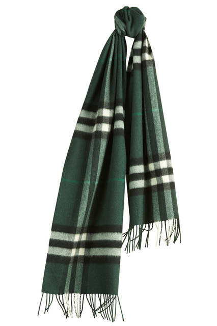 Check Cashmere Scarf - Dark Forest Green