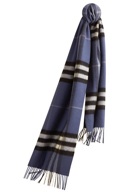 Check Cashmere Scarf - Thistle Blue