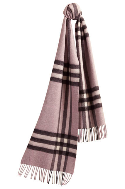 Check Cashmere Scarf - Dusty Lilac