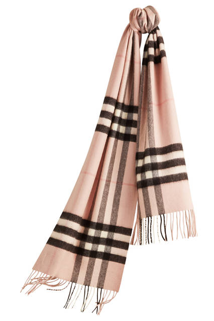 Check Cashmere Scarf - Ash Rose