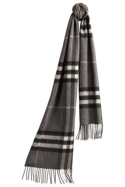 Check Cashmere Scarf - Mid Grey