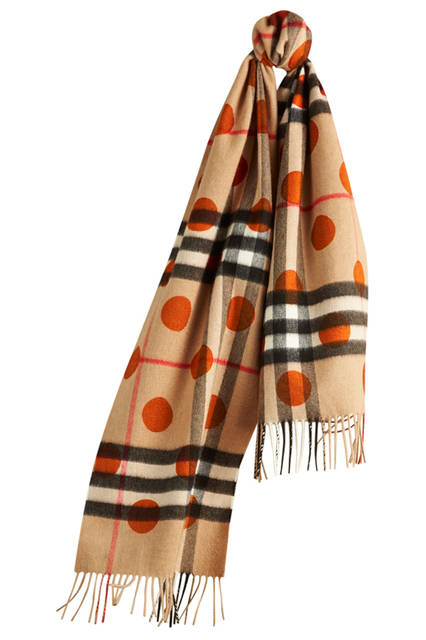 Check Cashmere Scarf with Polka Dot Print - Burnt Orange