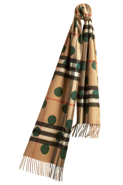 Check Cashmere Scarf with Polka Dot Print - Dark Forest Green