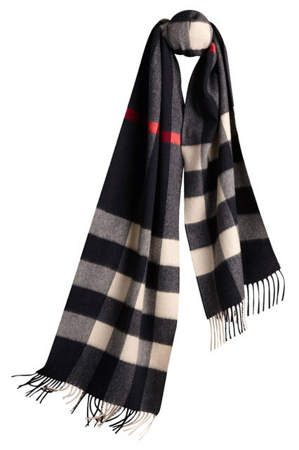 Check Cashmere Scarf - Navy