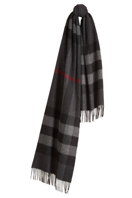 Check Cashmere Scarf - Charcoal