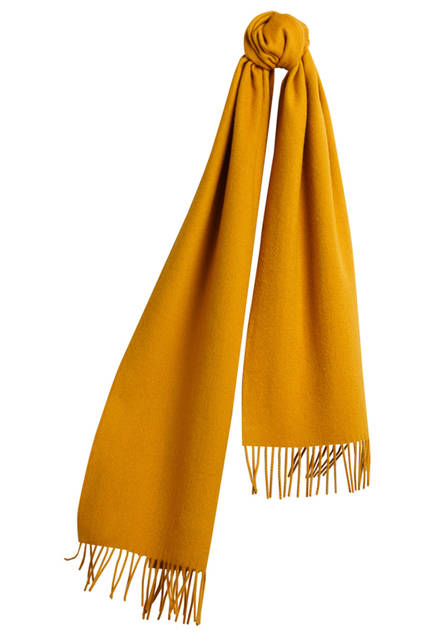 Embroidered Cashmere Scarf - Amber Yellow