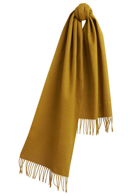 Embroidered Cashmere Scarf - Dark Lime