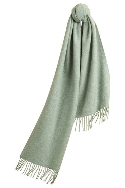 Embroidered Cashmere Scarf - Dusty Mint