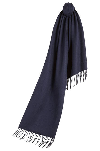 Embroidered Cashmere Scarf - Indigo Blue