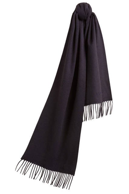 Embroidered Cashmere Scarf - Navy