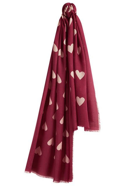 Heart Print Cashmere Scarf - Plum Pink_Stone