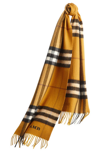 The-Classic-Cashmere-Scarf-in-Check-Amber-Yellow-Monogrammed