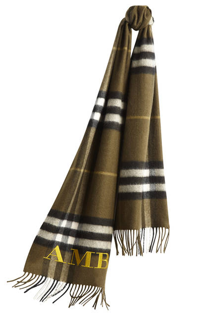 The-Classic-Cashmere-Scarf-in-Check-Olive-Green-Monogrammed