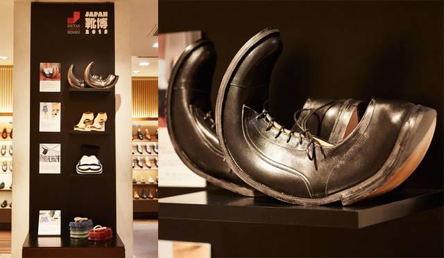 <strong>ISETAN MEN'S イセタンメンズ</strong><br />伊勢丹新宿店メンズ館地下1階=紳士靴売場「JAPAN靴博2015」 専門学校ヒコ・みづのシューズコースの学生の作品。右/槙田幸奈さんの作品