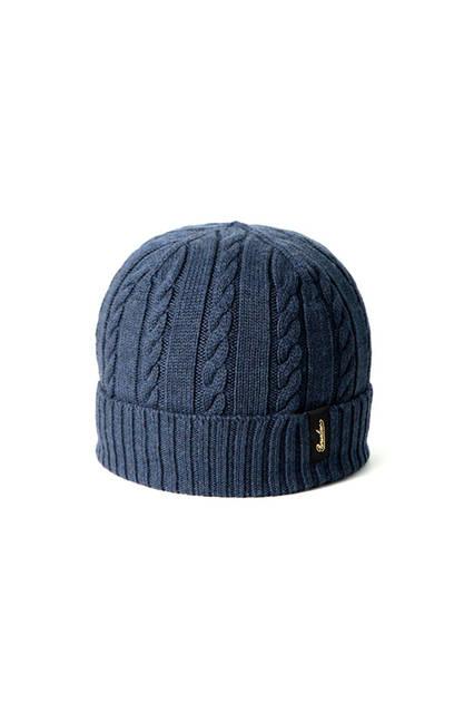 リブ編みのネイビー。専用箱付き。価格1万9440円