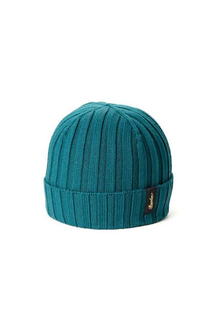 リブ編みのブルーグリーン。専用箱付き。価格1万9440円