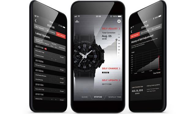 <strong>直感的操作ができるiPhone、Android対応G-SHOCK専用アプリ</strong><br /> スマートフォンの専用アプリ「G-SHOCK Connected※」によって、時計本体に触れることなく、機能の操作ができる。アプリを起動させていれば、時刻修正は自動的に1日4回実施。またワールドタイム都市設定(300都市以上)や、ホームタイムとローカルタイムの表示の入れ替え、時刻アラーム・タイマー設定といった各種機能も、アプリ上で操作できる。アプリは直感的に操作できるようビジュアル主体で設計され、操作上の煩わしさは一切ない。