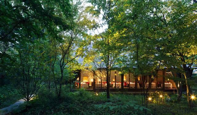 ユカワタン外観。木立のなかの一軒家。
