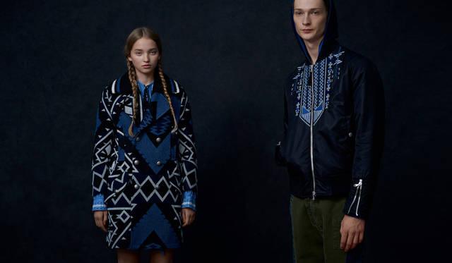 「ナバホ柄を思わせるジオメトリックなコートをワンピース風に。インのワンピースの袖を覗かせているのがポイントです。メンズは刺繍が施されたMA-1ライクなジャケットに、ミリタリーパンツを合わせて。エスニックをカジュアルに着る提案です」(左)コート12万5000円、ドレス4万8000円(参考カラー)(ともにディーゼル ブラック ゴールド)(右)ニットパーカ4万1000円、ジャケット8万8000円、デニムパンツ4万9000円(ともにディーゼル ブラック ゴールド)