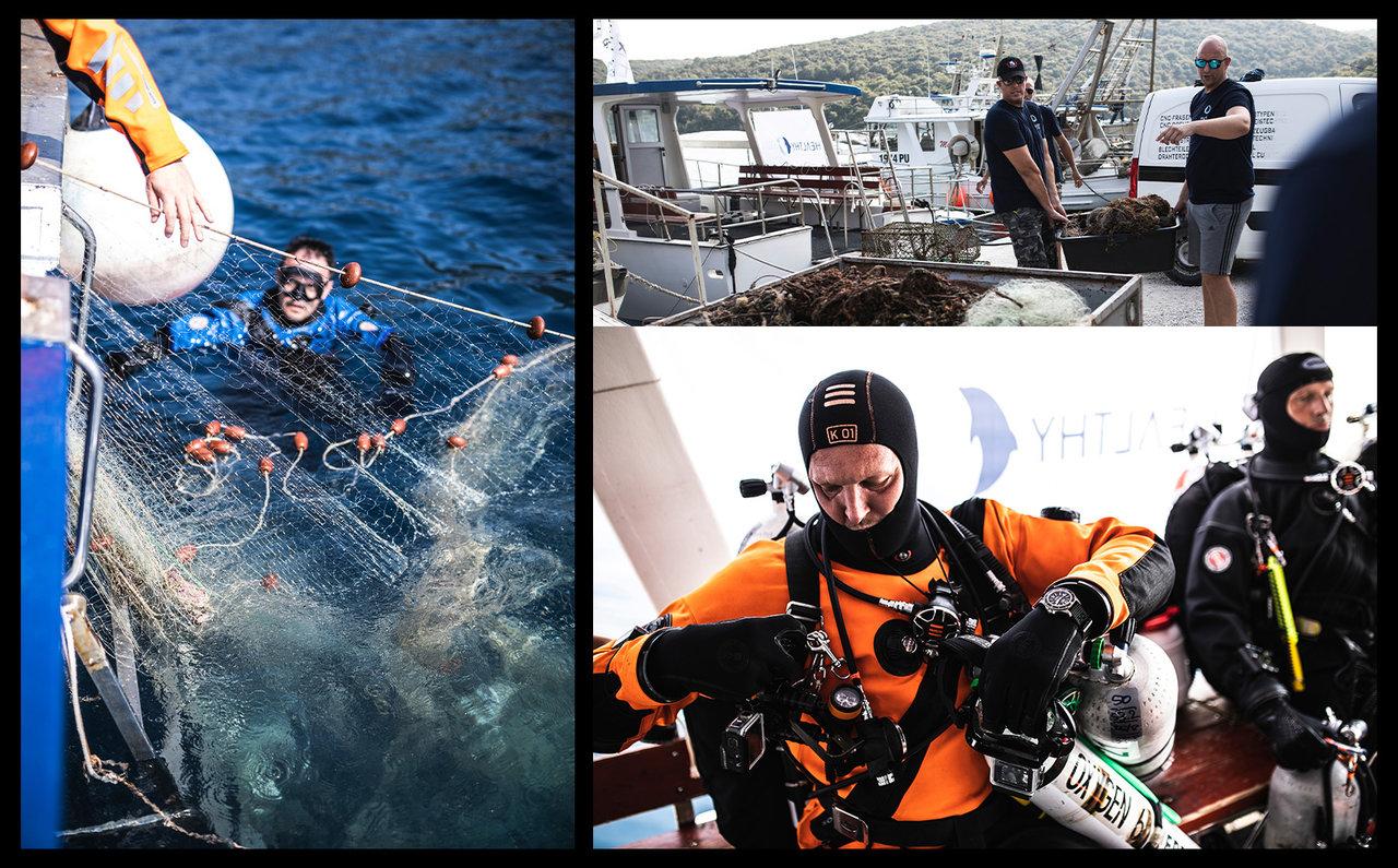 エコニール®ヤーンの原料となるのは廃棄・放棄された漁網。漁網は海洋ゴミ問題の1割を占める重要な課題であり、海の生物へのダメージのみならず、海で働く人々をも危険にさらすことさえある。そのため、アクアフィル社では再生ナイロンの原料に漁網を選択した。画像は2013年から漁網の清掃に取り組むHealty Seasのダイバーたち。これまでに約50トンもの漁網を引き揚げた。その作業は海中の漁網をナイフで切り、絡まった網を引き剥がし、船の上に引き揚げる重労働だ。