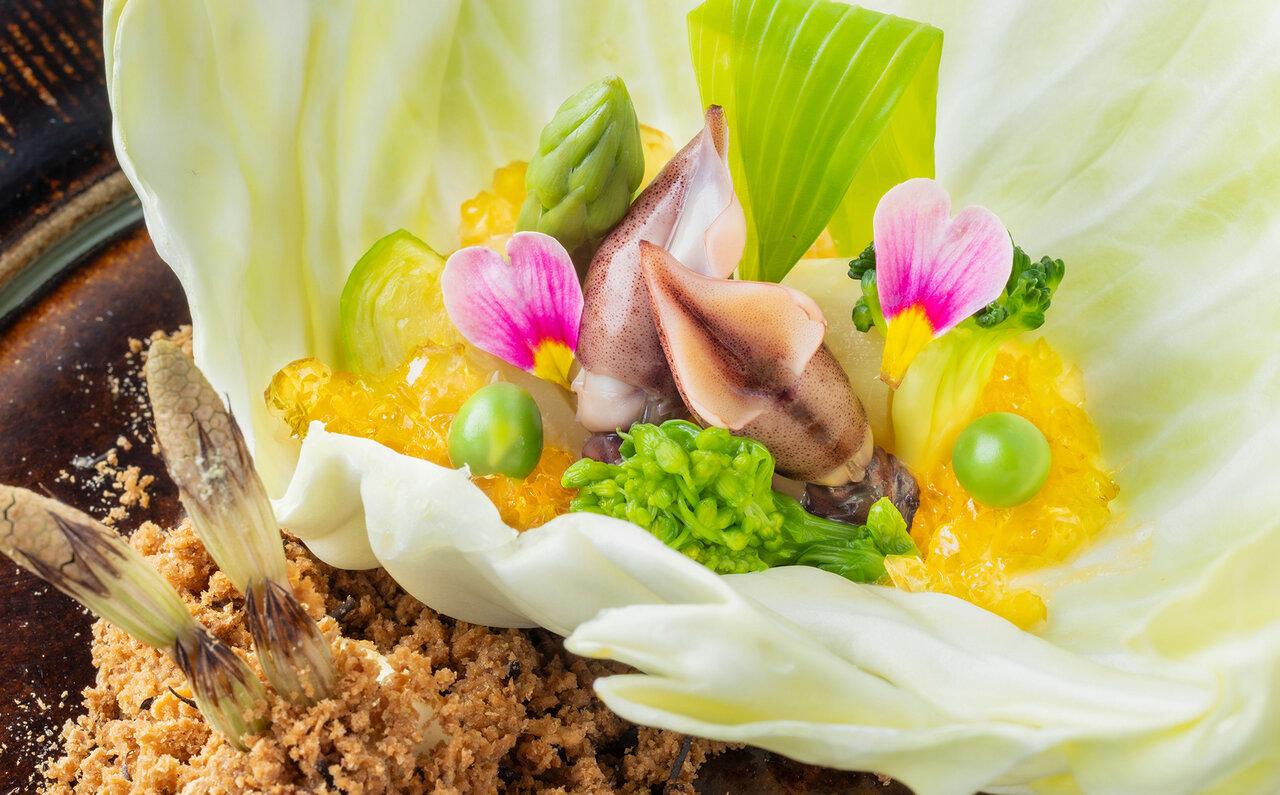 先付「春野菜と黄身酢和え」