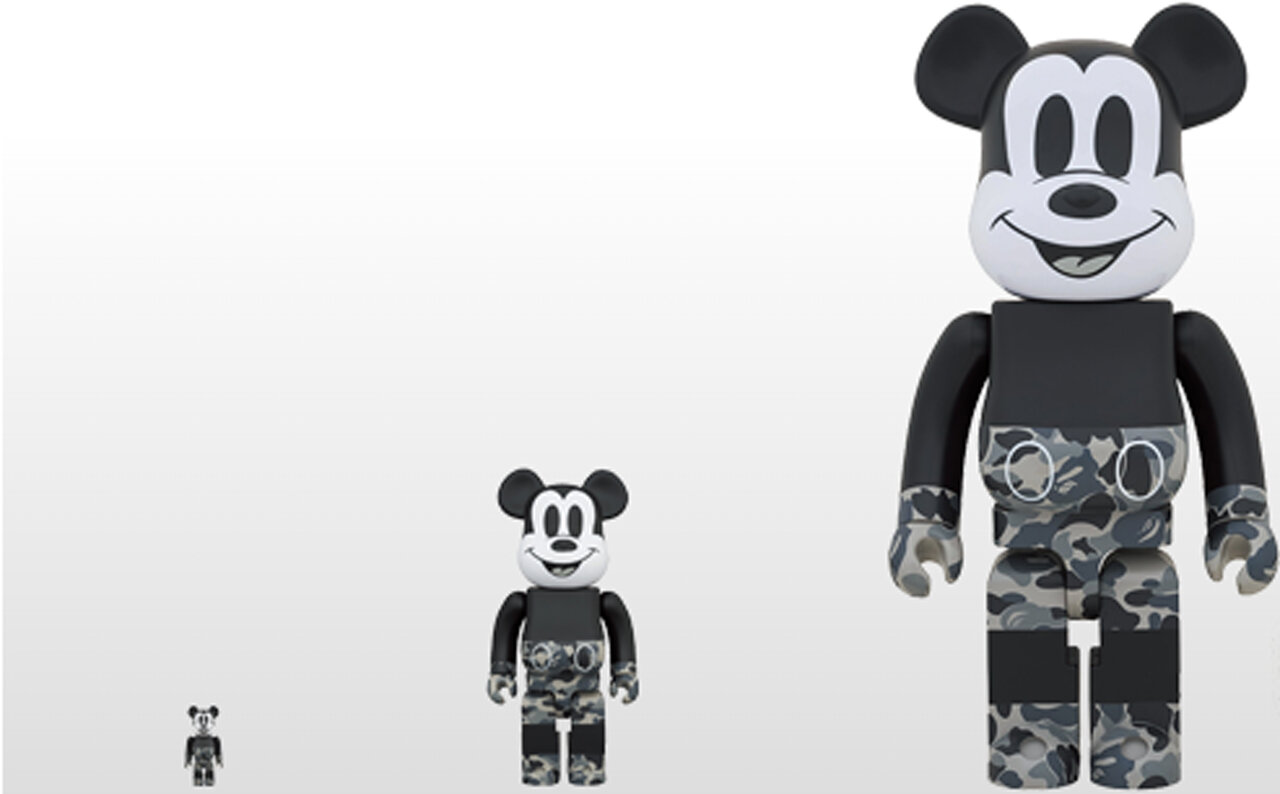 BE@RBRICK BAPE(R) MICKEY MOUSE MONOTONE Ver. 100% & 400% / 1000%