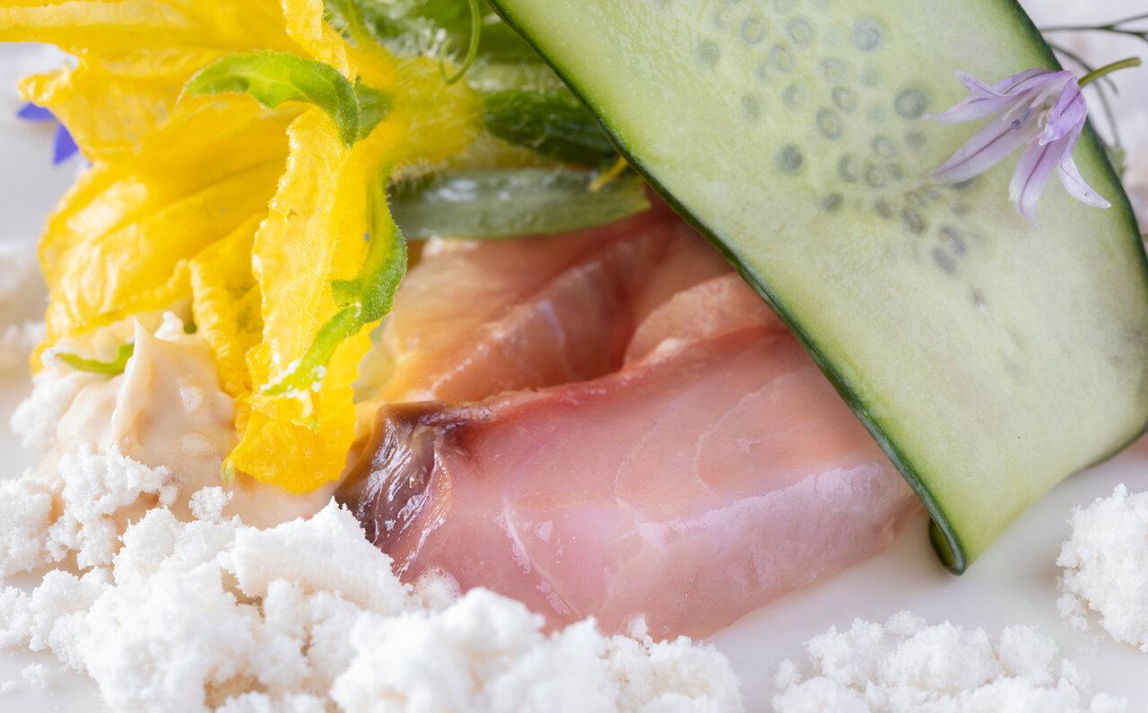 ブレストンコート ユカワタン 前菜 鯉と胡瓜のコンポジション