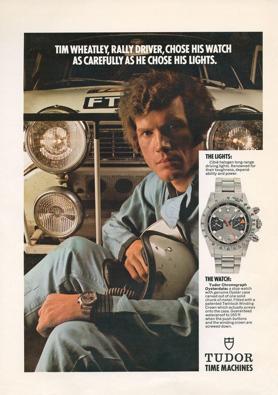 チューダーのクロノグラフにおける最初の広告キャンペーンには、ラリードライバーが採用された!!!! いわゆる有名俳優の露出ではなく、当時、人気があった自動車レースの華やかさにフォーカスするでもなかったのです。この質実剛健なアティテュードがチューダーらしさであり、チューダー製クロノグラフの精神的支柱なのです。