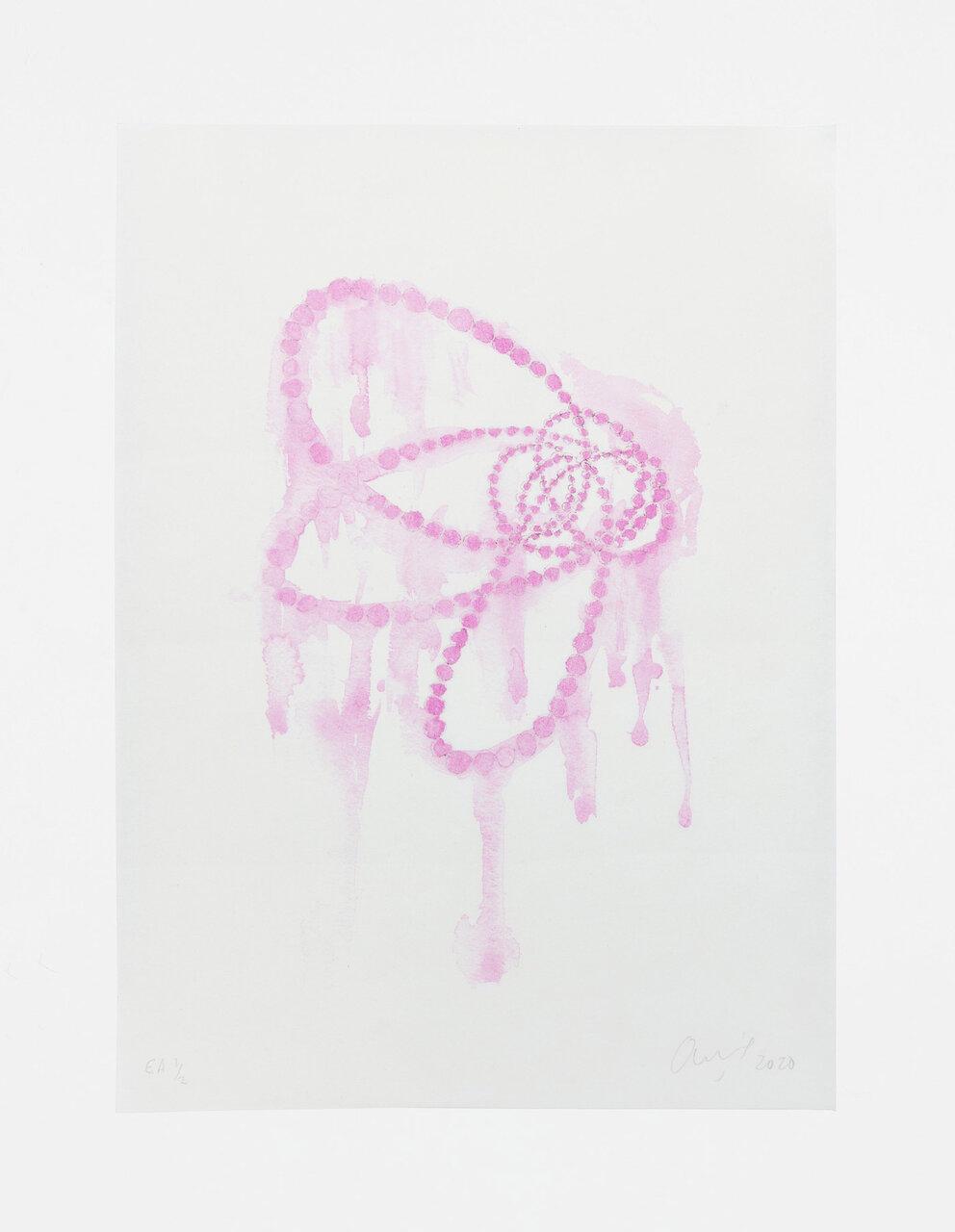 Jean-Michel OTHONIEL Kiku - Kakitsubatairo (Rabbit-ear iris color), 2020, Monotype on Japanese paper, 36 x 24 cm, 1/1 edition + 2 AP © Jean-Michel Othoniel / JASPAR, Tokyo 2020 Photo: Claire Dorn / Courtesy of the artist and Perrotin