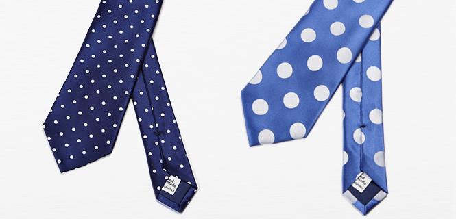 FAIRFAX ドレスクロージングの大定番、ブルーのサテンドットタイ