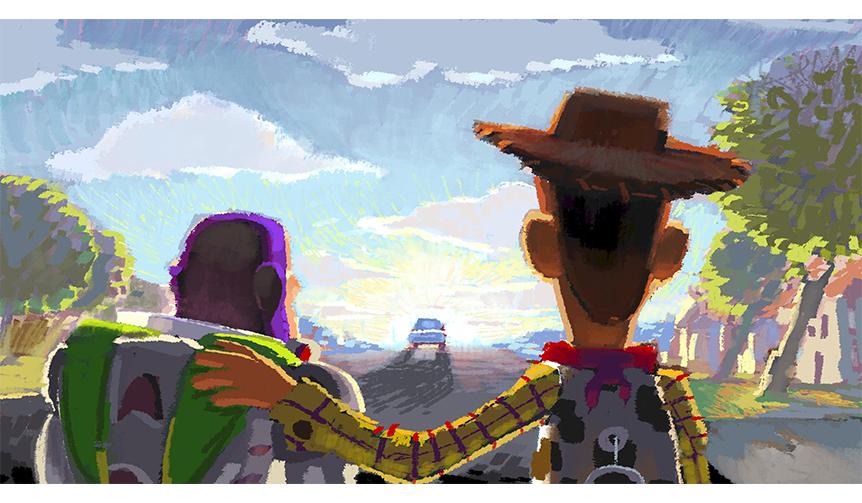 ロバート・コンドウ(レイアウト:ジェイソン・カッツ、ジョン・サンフォード)|≪ビートボード:さよなら、アンディ≫|『トイ・ストーリー3』(2010年)| デジタルペインティング|©Disney/Pixar